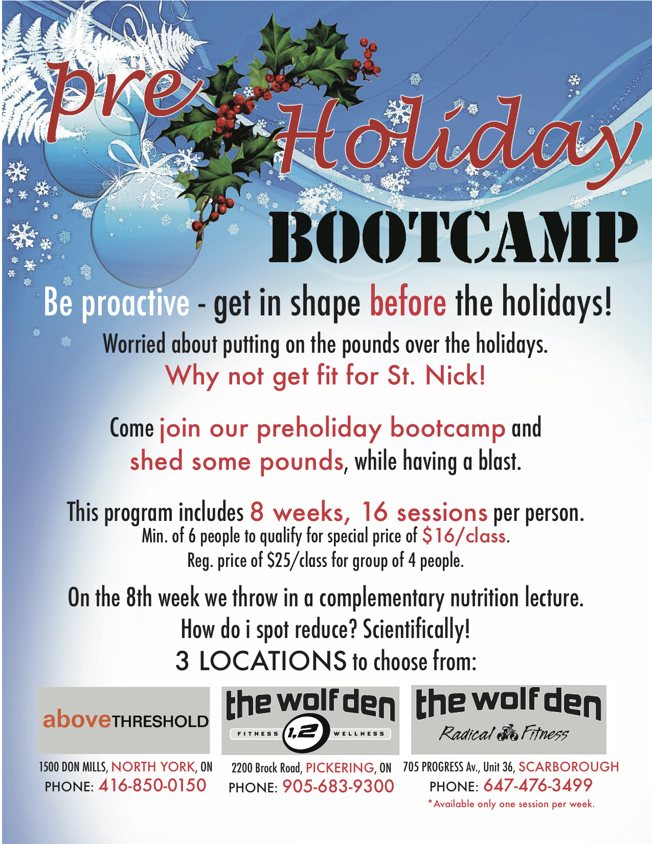 boot camp holidays